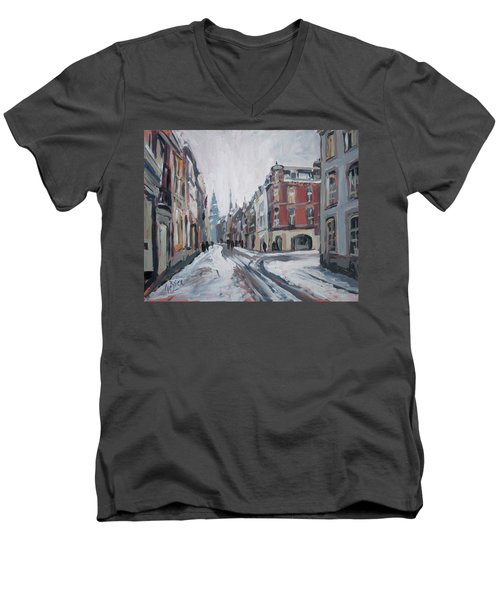 The White Grand Canal Street Maastricht Men's V-Neck T-Shirt by Nop Briex