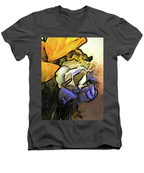 The White Rose And The Yellow Petals Men's V-Neck T-Shirt