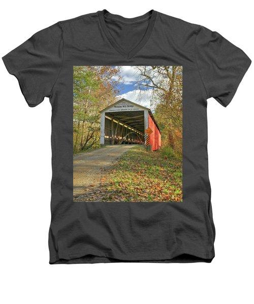 The Wilkins Mill Covered Bridge Men's V-Neck T-Shirt by Harold Rau