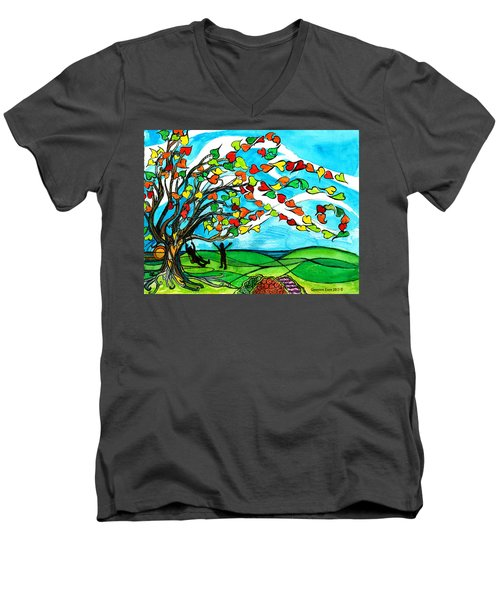 The Windy Tree Men's V-Neck T-Shirt by Genevieve Esson