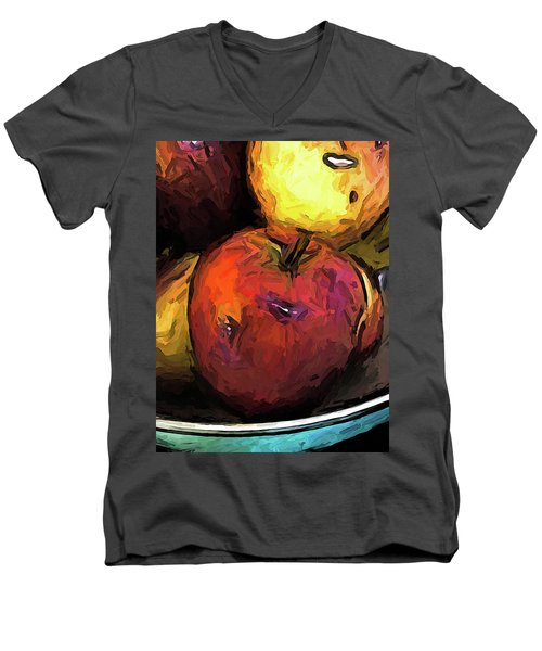 The Wine Apple With The Gold Apples Men's V-Neck T-Shirt