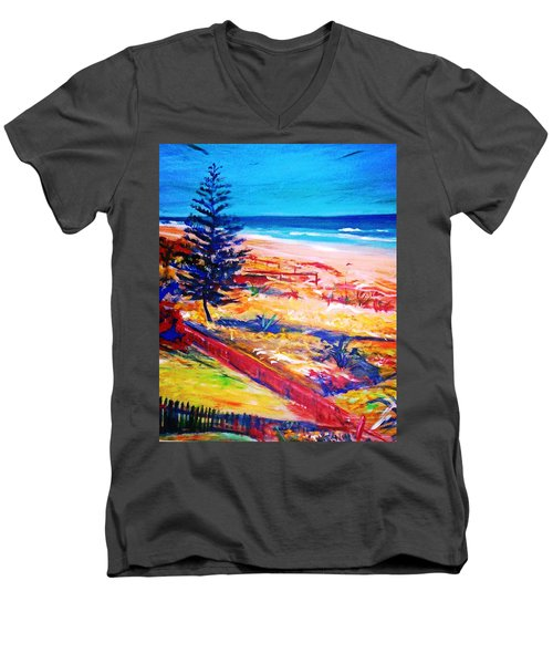 Men's V-Neck T-Shirt featuring the painting The Winter Dunes by Winsome Gunning