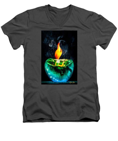 Men's V-Neck T-Shirt featuring the photograph The Winter Of Fire And Ice by Rikk Flohr
