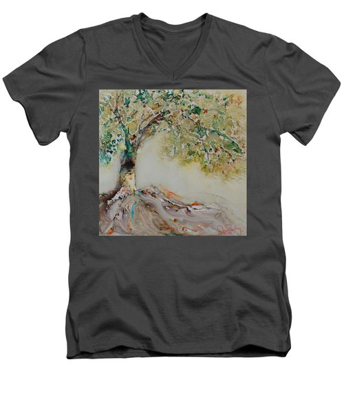 Men's V-Neck T-Shirt featuring the painting The Wisdom Tree by Joanne Smoley