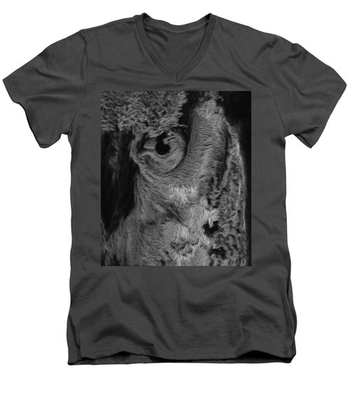The Old Owl That Watches Blk Men's V-Neck T-Shirt by ISAW Gallery