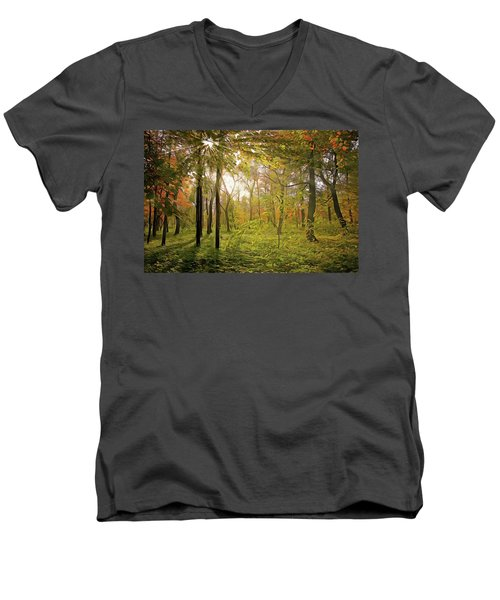 Men's V-Neck T-Shirt featuring the painting The Woods by Harry Warrick