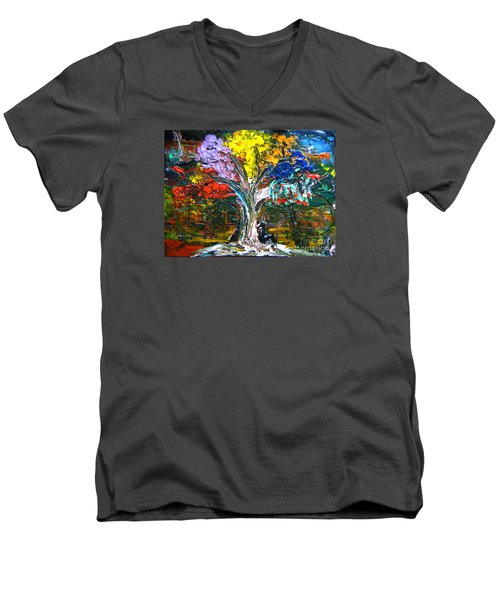 The World Moves For Love By Colleen Ranney Men's V-Neck T-Shirt