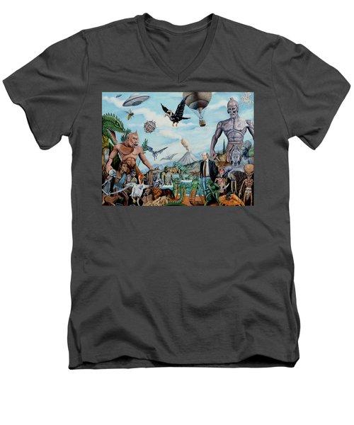 The World Of Ray Harryhausen Men's V-Neck T-Shirt by Tony Banos