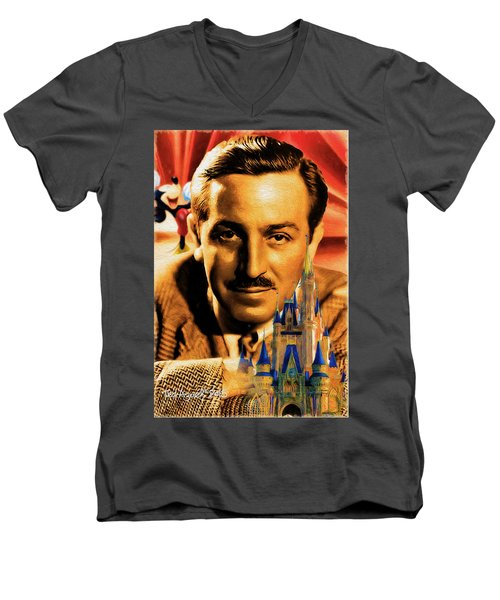 Men's V-Neck T-Shirt featuring the painting The World Of Walt Disney by Ted Azriel