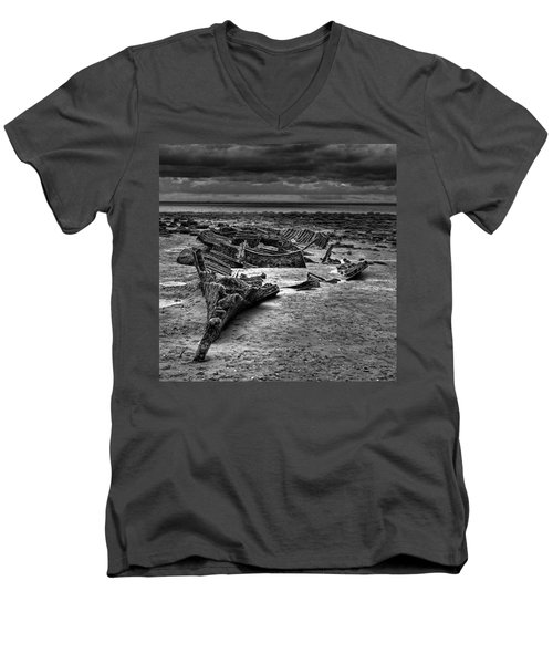The Wreck Of The Steam Trawler Men's V-Neck T-Shirt by John Edwards