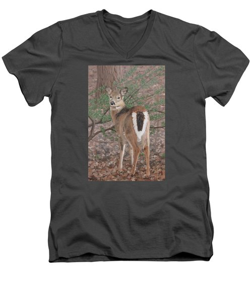 Men's V-Neck T-Shirt featuring the painting The Yearling by Sandra Chase
