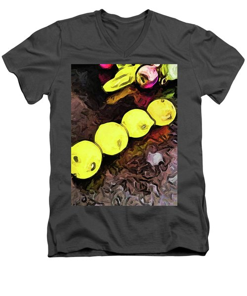 The Yellow Lemons In A Row And The Pink Apple Men's V-Neck T-Shirt