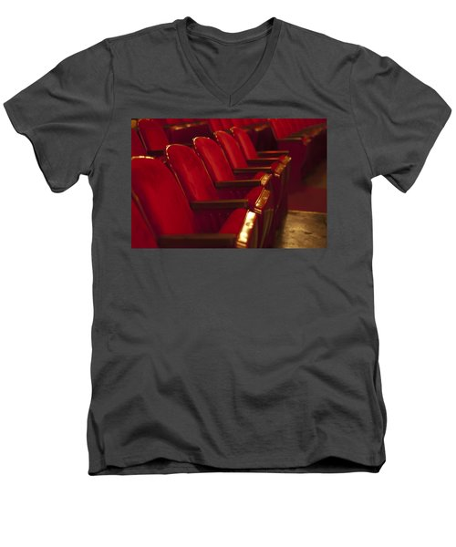 Men's V-Neck T-Shirt featuring the photograph Theater Seating by Carolyn Marshall