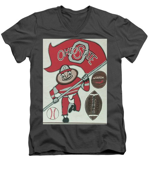 Thee Ohio State Buckeyes Men's V-Neck T-Shirt by Jonathon Hansen