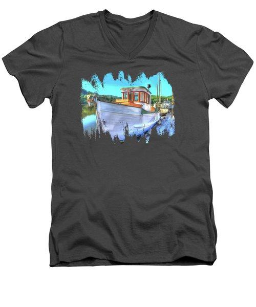 Thee Old Dragger Boat Men's V-Neck T-Shirt by Thom Zehrfeld