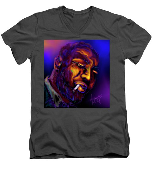 Men's V-Neck T-Shirt featuring the painting Thelonious My Old Friend by DC Langer
