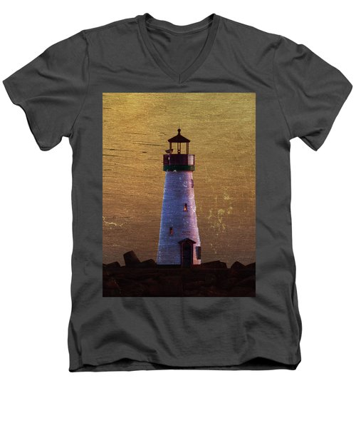Men's V-Neck T-Shirt featuring the photograph There Is A Lighthouse by B Wayne Mullins