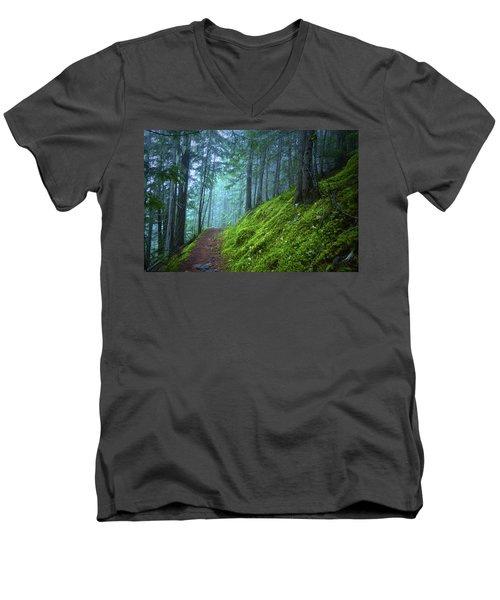 Men's V-Neck T-Shirt featuring the photograph There Is Light In This Forest by Tara Turner