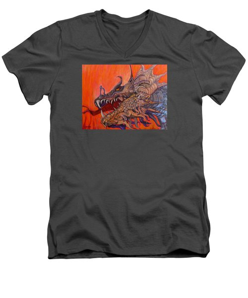 There Once Were Dragons Men's V-Neck T-Shirt by Barbara O'Toole