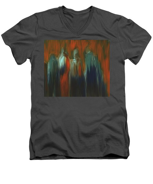 Men's V-Neck T-Shirt featuring the painting There Were Four by Jim Vance