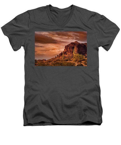 Men's V-Neck T-Shirt featuring the photograph There's Gold In Them Hills  by Saija Lehtonen