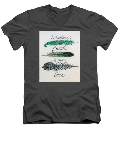 Men's V-Neck T-Shirt featuring the painting These Feathers by Elizabeth Robinette Tyndall