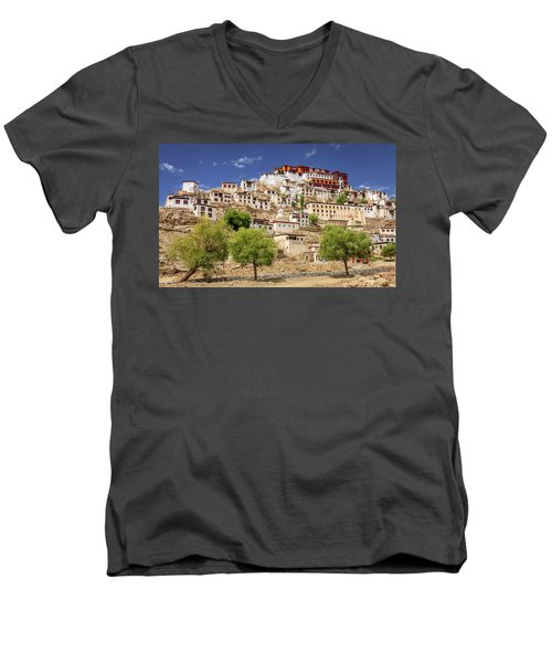 Men's V-Neck T-Shirt featuring the photograph Thikse Monastery by Alexey Stiop