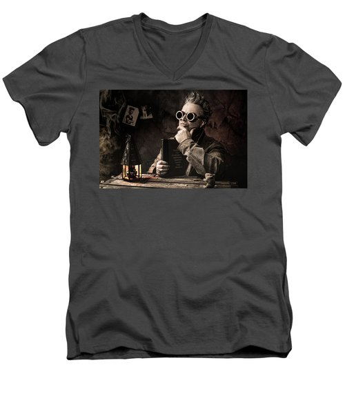 Men's V-Neck T-Shirt featuring the photograph Things To Consider - Steampunk - World Domination by Gary Heller