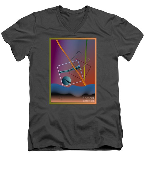 Men's V-Neck T-Shirt featuring the digital art Thinking About The Future by Leo Symon