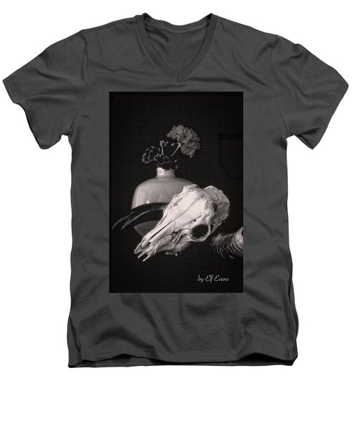 Men's V-Neck T-Shirt featuring the photograph Thinking Of Georgia O'keeffe by Elf Evans