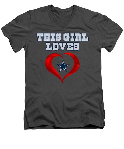 This Girl Loves Dallas Cowboy Men's V-Neck T-Shirt by Ming Chandra