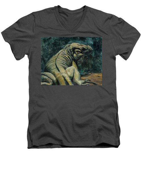 Men's V-Neck T-Shirt featuring the painting This Is My Good Side by Billie Colson
