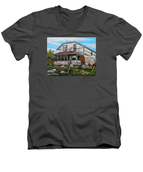Men's V-Neck T-Shirt featuring the painting This Old House 2 by Marilyn  McNish