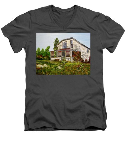 Men's V-Neck T-Shirt featuring the painting This Old House by Marilyn  McNish