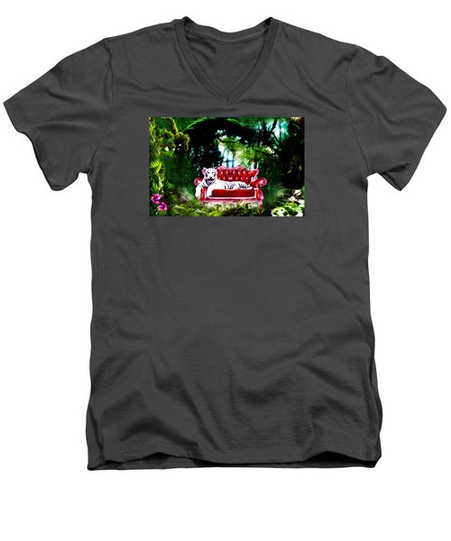 Men's V-Neck T-Shirt featuring the mixed media This Place Is Reserved For The Boss by Gabriella Weninger - David