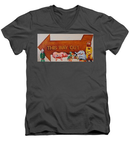 This Way Out Men's V-Neck T-Shirt by Jean Cormier