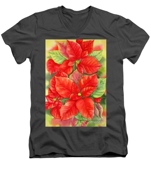 This Year's Poinsettia 1 Men's V-Neck T-Shirt by Inese Poga