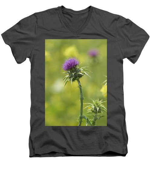 Men's V-Neck T-Shirt featuring the photograph Thistle And Mustard by Doug Herr