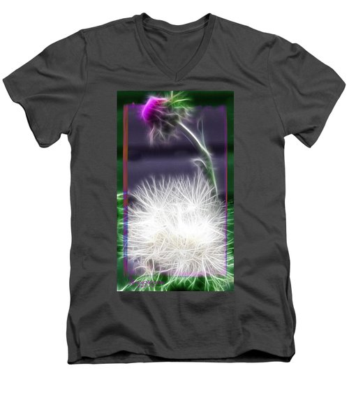 Men's V-Neck T-Shirt featuring the photograph Thistle by EricaMaxine  Price
