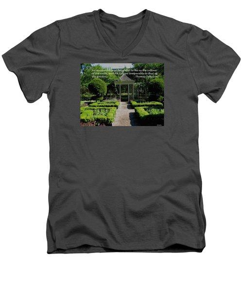Thomas Jefferson On Gardens Men's V-Neck T-Shirt by Deborah Dendler