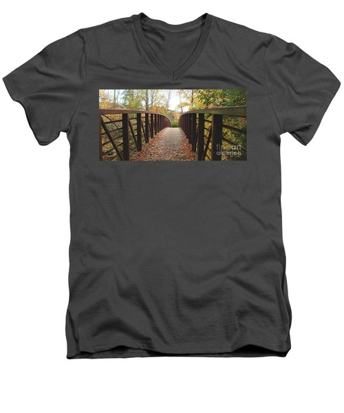 Thompson Park Bridge Stowe Vermont Men's V-Neck T-Shirt by Felipe Adan Lerma