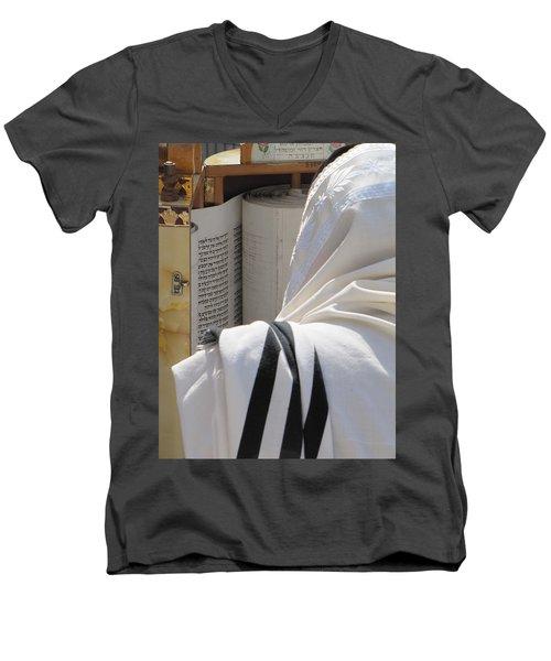 Thora Reading At The Western Wall Men's V-Neck T-Shirt by Yoel Koskas