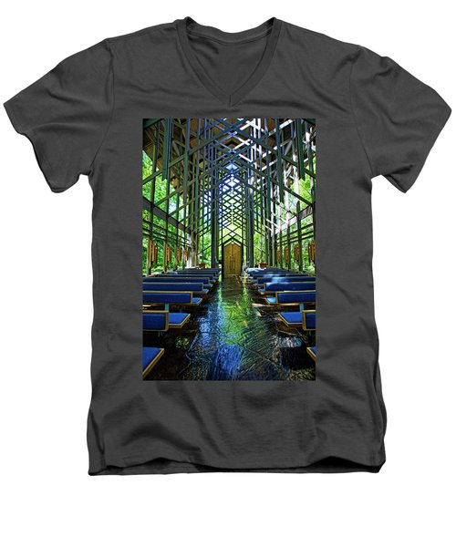 Men's V-Neck T-Shirt featuring the photograph Thorncrown Chapel Serenity by Cricket Hackmann