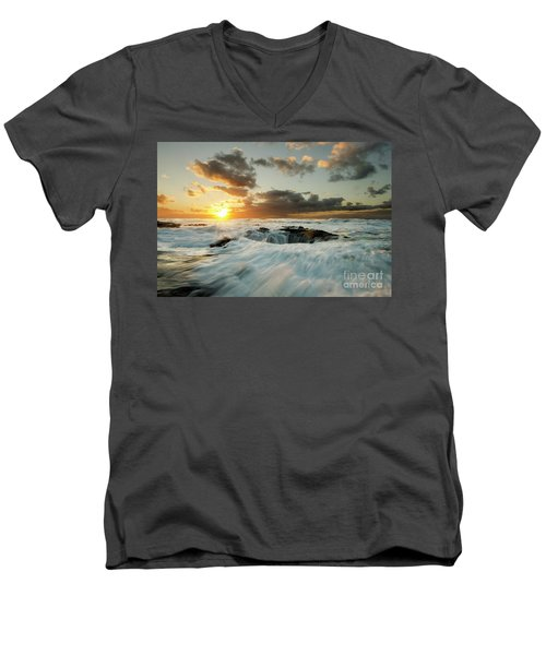 Men's V-Neck T-Shirt featuring the photograph Thors Well Cape Perpetua 1 by Bob Christopher
