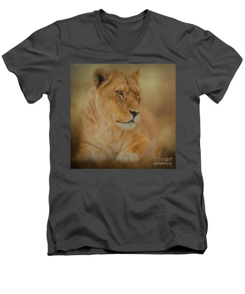 Thoughtful Lioness - Square Men's V-Neck T-Shirt