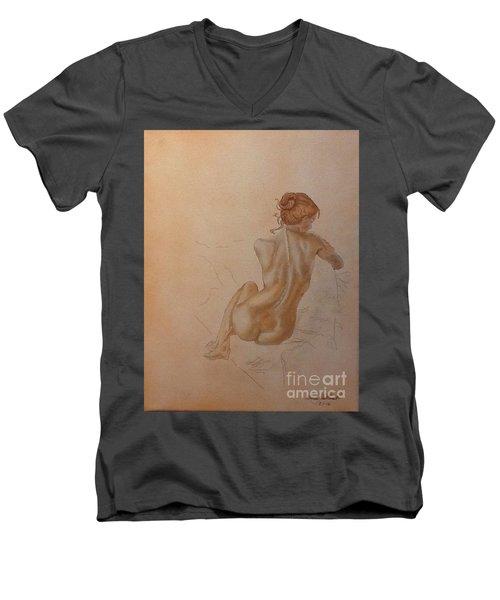 Thoughtful Nude Lady Men's V-Neck T-Shirt