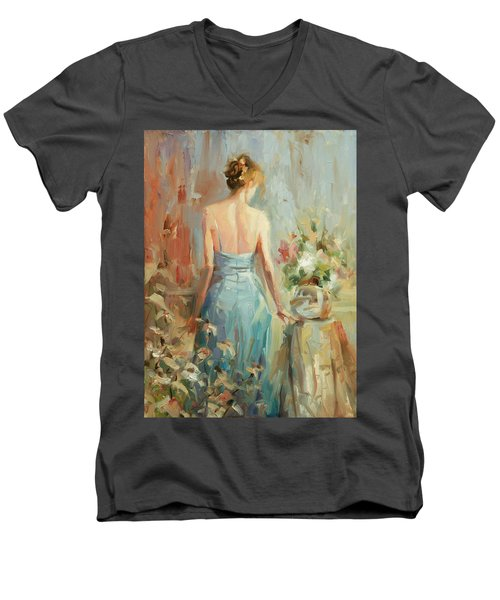 Men's V-Neck T-Shirt featuring the painting Thoughtful by Steve Henderson