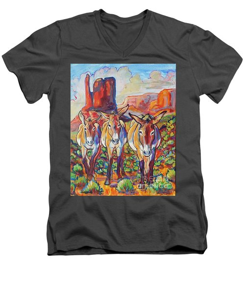 Three Amigos  Men's V-Neck T-Shirt by Jenn Cunningham