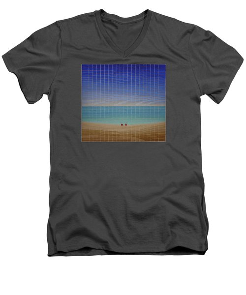 Three Beach Umbrellas Men's V-Neck T-Shirt