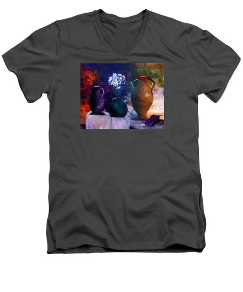 Men's V-Neck T-Shirt featuring the painting Three Best Friends by Lisa Kaiser